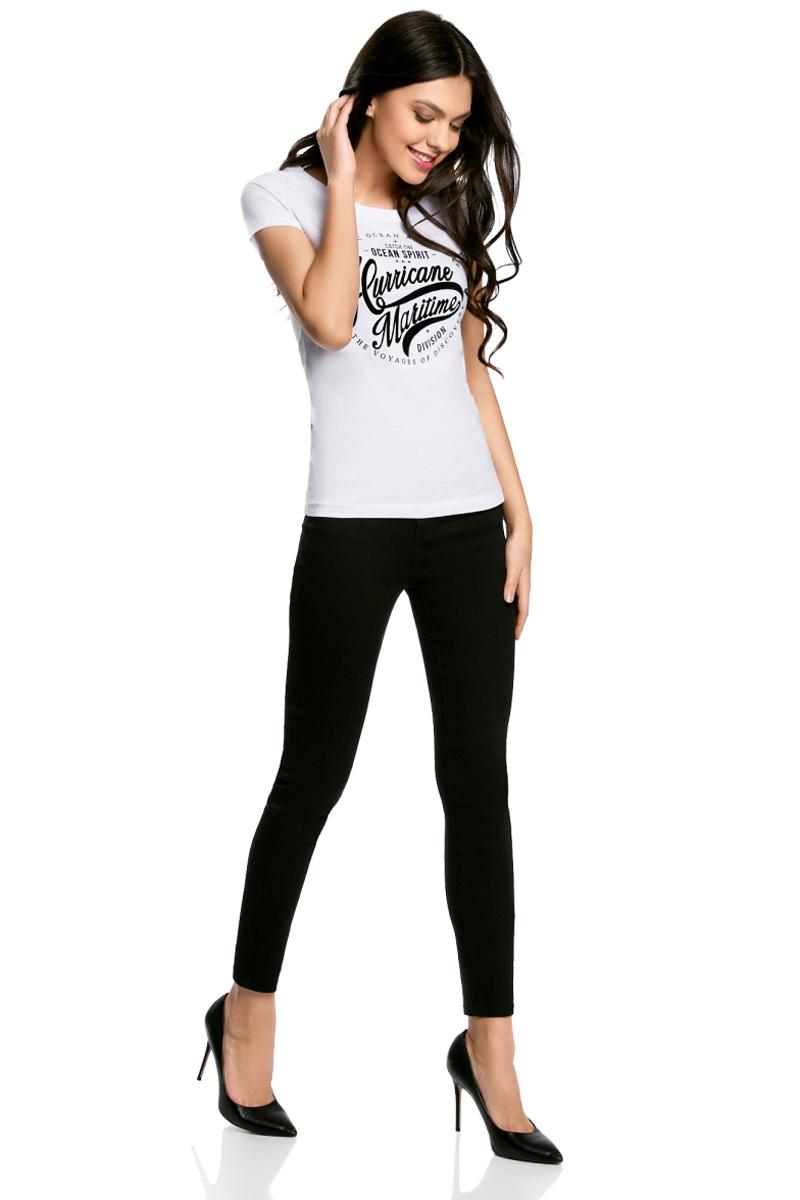 Футболка женская oodji Ultra, цвет: белый. 14701008-9/46154/1029P. Размер XXS (40)14701008-9/46154/1029PЖенская футболка от oodji выполнена из натурального хлопка. Модель с короткими рукавами спереди оформлена принтом.