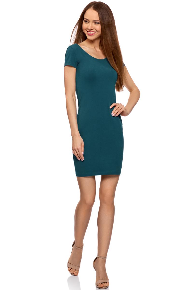 Платье oodji Collection, цвет: голубой. 24001082-2B/47420/7400N. Размер XS (42)24001082-2B/47420/7400NПлатье от oodji облегающего силуэта с глубоким вырезом на спине выполнено из эластичного хлопка. Модель с короткими рукавами.