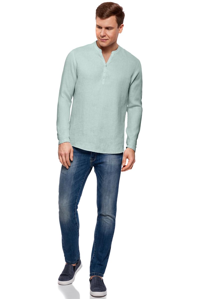Рубашка мужская oodji Basic, цвет: светло-голубой. 3B320002M/21155N/6000N. Размер M-182 (50-182)3B320002M/21155N/6000NМужская рубашка от oodji выполнена из натурального льна. Модель без воротника с длинными рукавами на груди застегивается на пуговицы.