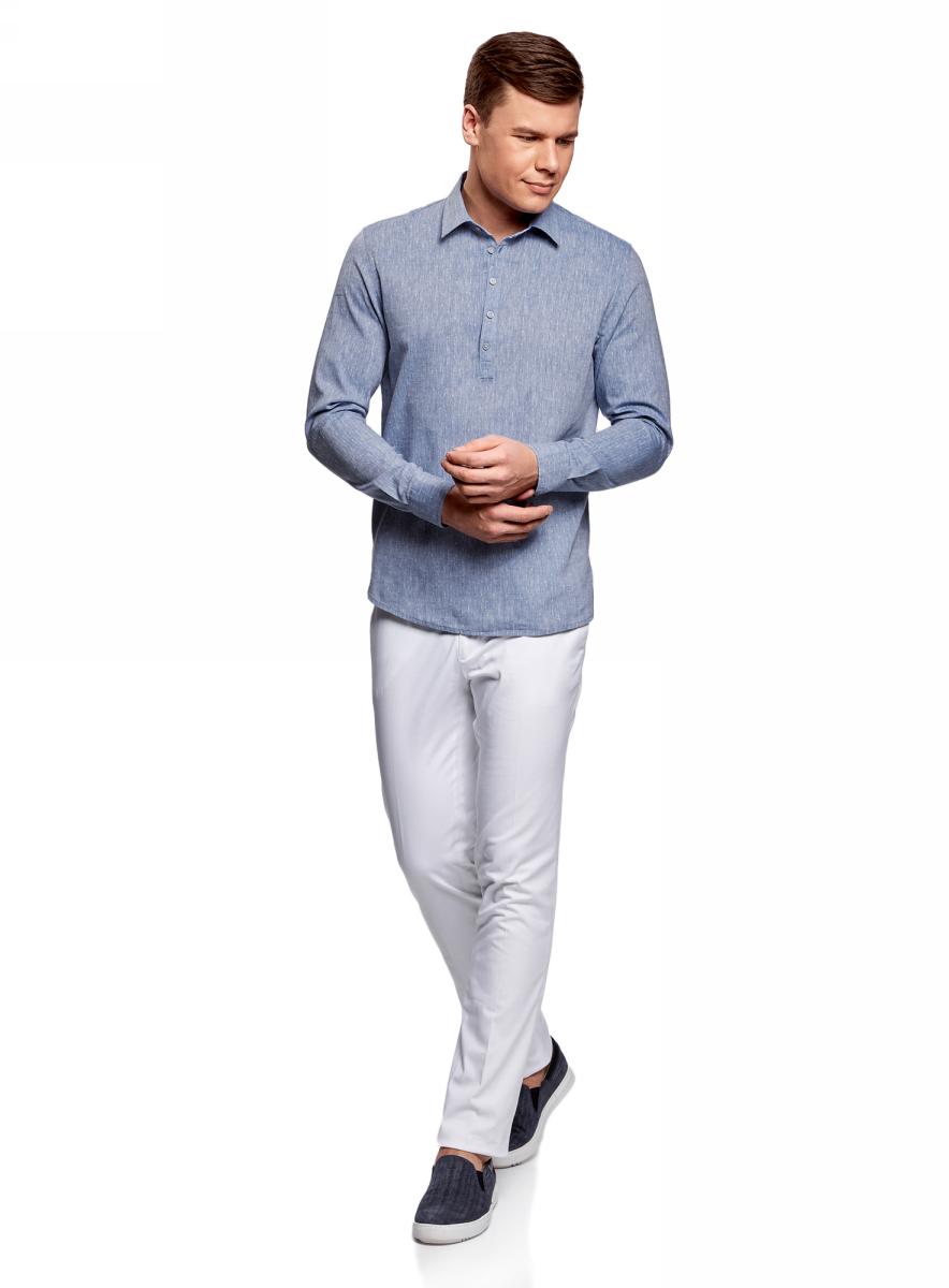 Рубашка мужская oodji Lab, цвет: синий, белый. 3L320001M/46881N/7510G. Размер L-182 (52/54-182)3L320001M/46881N/7510GМужская рубашка от oodji выполнена из хлопкового материала. Модель свободного кроя с длинными рукавами застегивается на пуговицы.