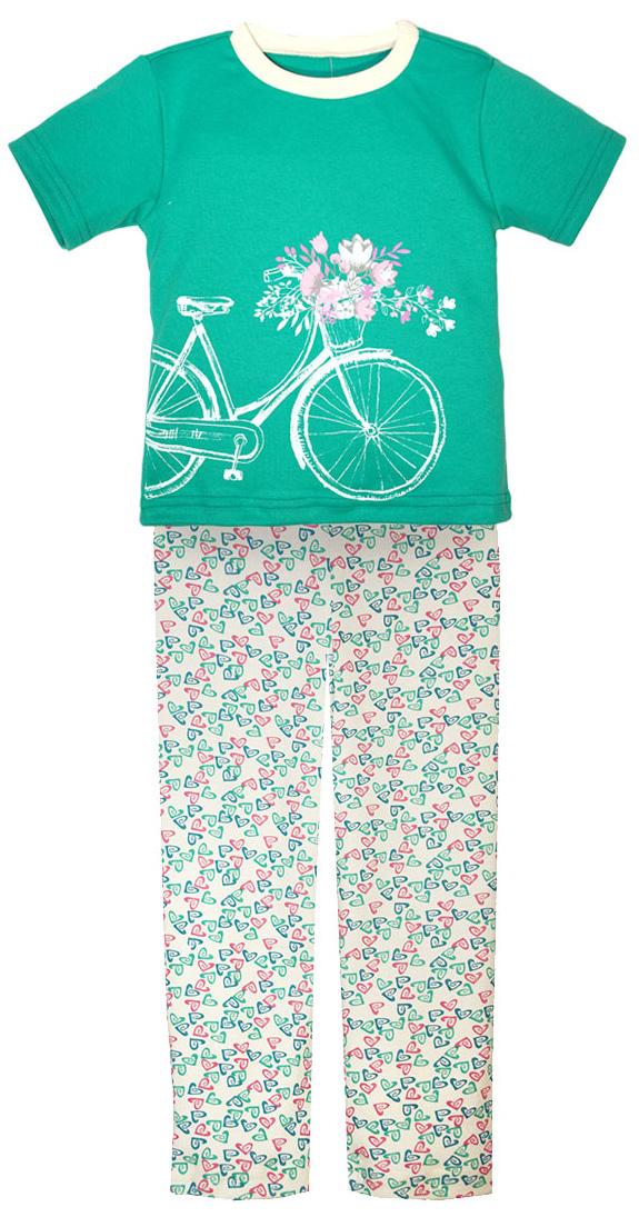 Пижама для девочки КотМарКот, цвет: бирюзовый, розовый, белый. 16226. Размер 12816226Пижама для девочки КотМарКот, состоящая из футболки и брюк, выполнена из натурального хлопка. Футболка с короткими рукавами и круглым вырезом горловины на груди оформлена крупным принтом. Брюки прямого кроя с широкой эластичной резинкой на поясе оформлены оригинальным принтом.
