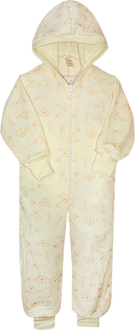 Пижама для девочки КотМарКот, цвет: светло-бежевый, оранжевый. 16924. Размер 98/10416924Пижама для девочки КотМарКот выполнена из натурального хлопка. Модель с капюшоном и длинными рукавами застегивается на застежку-молнию. Манжеты рукавов и низ брючин дополнены трикотажными манжетами.