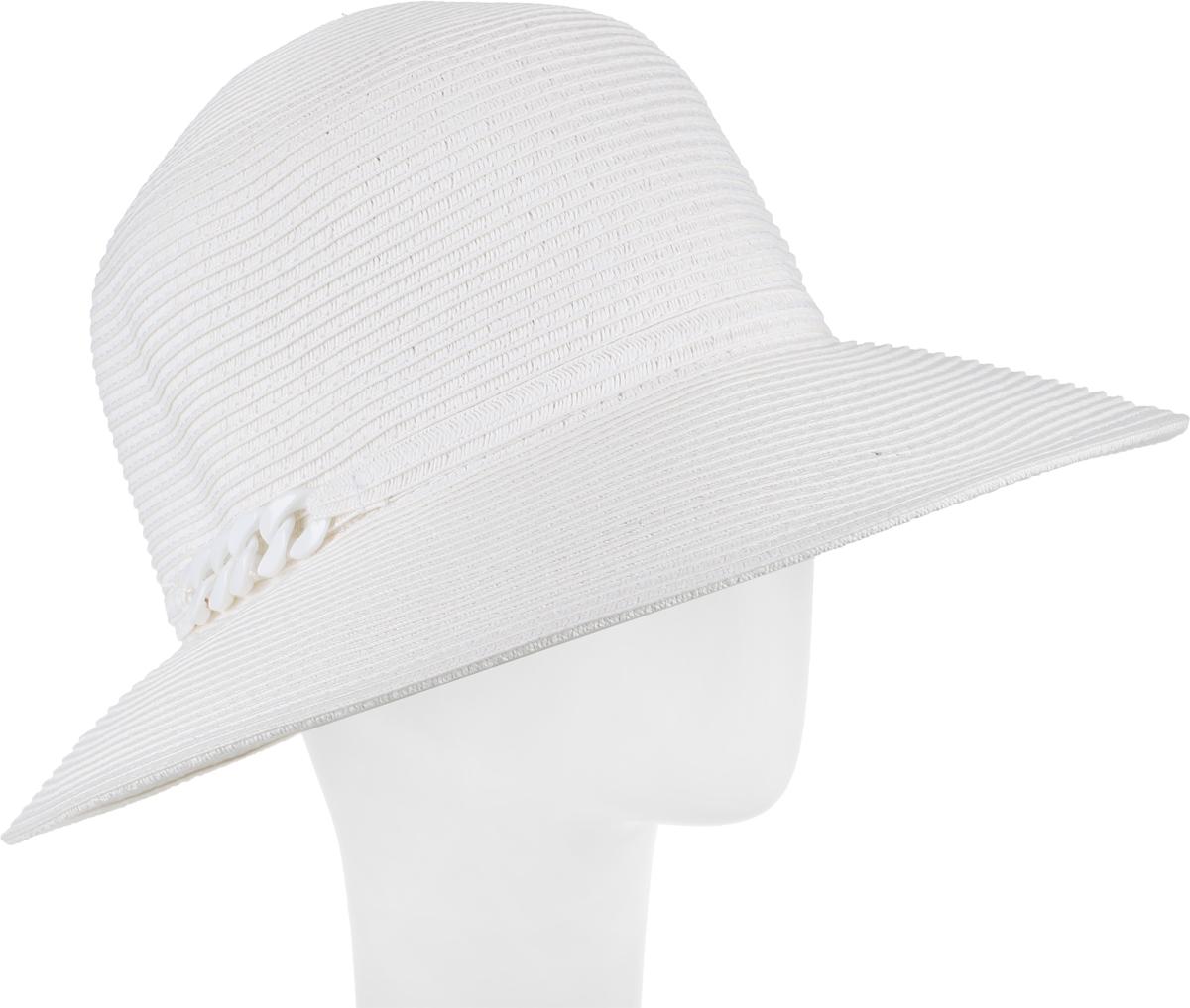 Шляпа женская Fabretti, цвет: белый. G23-4. Размер универсальныйG23-4 WHITEЖенская шляпа Fabretti изготовлена из качественной целлюлозы. Модель оформлена кантом с крупной цепочкой из блестящего пластика. Стильная шляпа для пляжного отдыха и прогулок в солнечные дни.