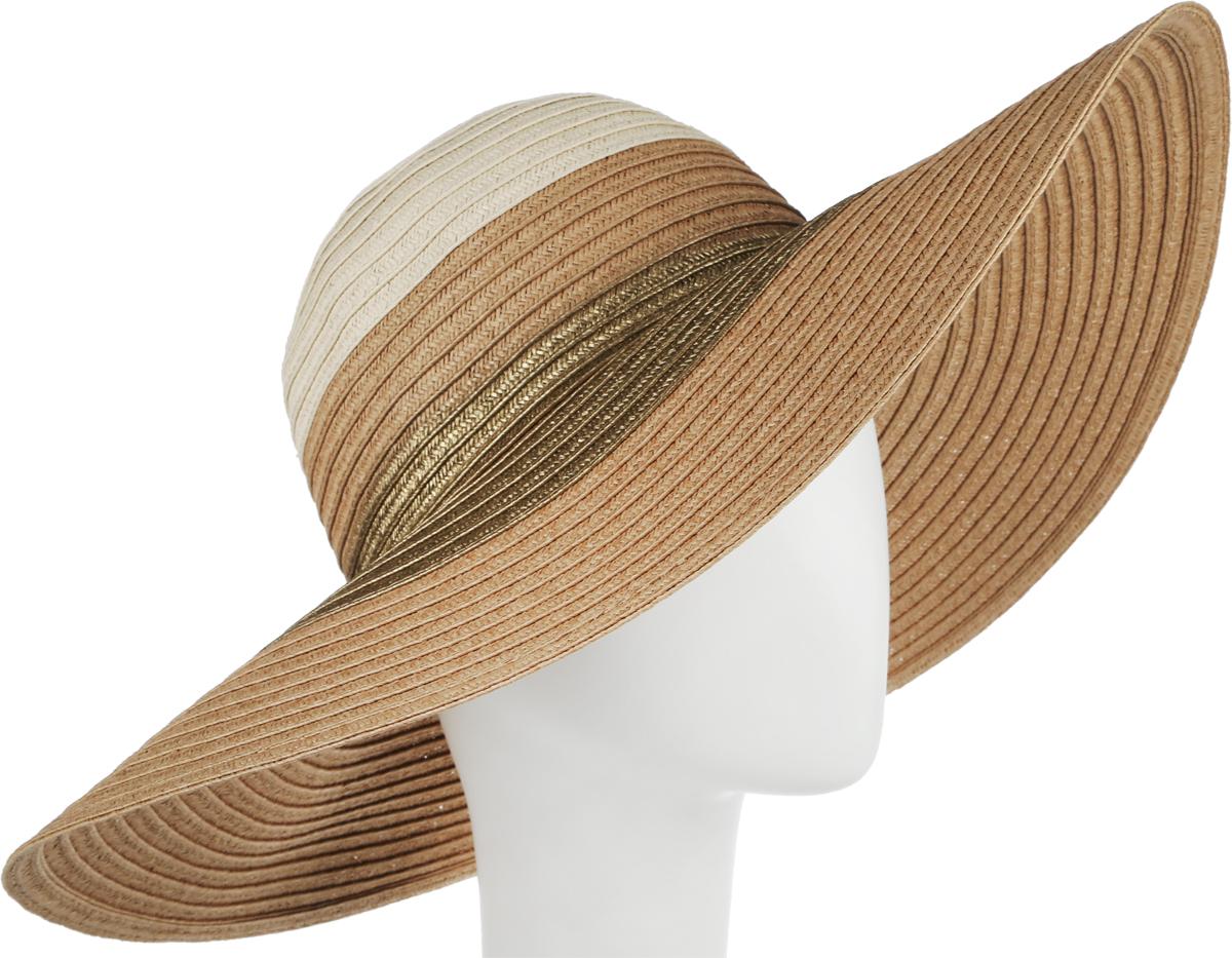 Шляпа женская Fabretti, цвет: коричневый, бежевый. G38-7/3. Размер универсальныйG38-7/3 BROWN/BEIGEСтильная шляпа для пляжного отдыха и прогулок в солнечные дни.