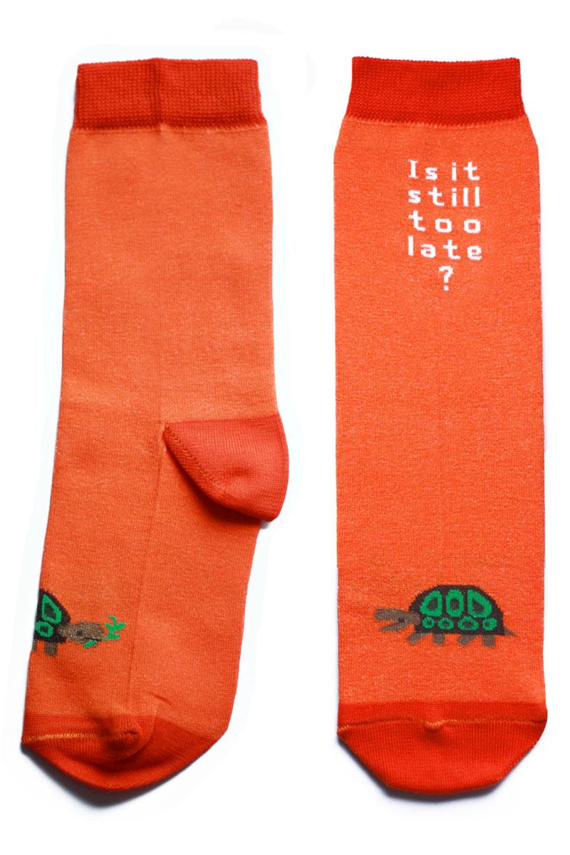 Носки детские Big Bang Socks Черепашка, махровые, цвет: оранжевый. ca1513. Размер 30/34ca1513Теплые детские махровые носки Big Bang Socks изготовлены из высококачественного хлопка с добавлением полиамидных и эластановых волокон, которые обеспечивают великолепную посадку. Носки отличаются ярким стильным дизайном, они оформлены изображением черепахи и надписью: Is it Still to Late?. Удобная широкая резинка идеально облегает ногу и не пережимает сосуды, усиленные пятка и мысок повышают износоустойчивость носка, а удлиненный паголенок придает более эстетичный вид. Дизайнерские носки Big Bang Socks - яркая деталь в вашем образе и оригинальный подарок для друзей и близких.
