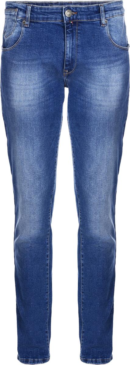 Джинсы мужские F5, цвет: синий. 14439_09618. Размер 33-34 (48/50-34)14439_09618, Blue denim V-008 str., w.mediumМужские джинсы F5 выполнены из хлопка с небольшим добавлением эластана. Модель на поясе застегивается на металлическую пуговицу и имеет ширинку на молнии, а также шлевки для ремня. Спереди расположены два внутренних кармана со скошенными краями и один накладной кармашек, а сзади - два накладных кармана. Изделие оформлено небольшой нашивкой с названием бренда.