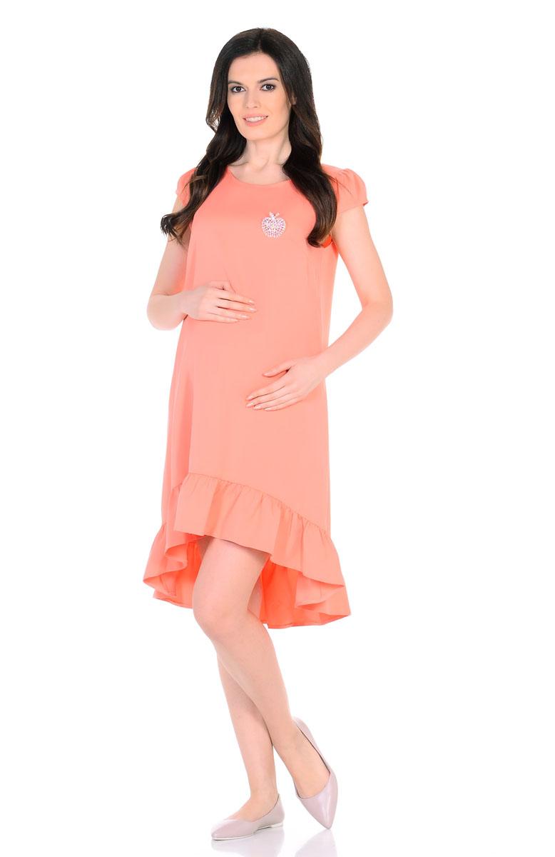 Платье для беременнных и кормящих Nuova Vita, цвет: персиковый. 2158.03. Размер 482158.03Красивое летнее платье для беременных поможет будущей маме подчеркнуть всю привлекательность этого волшебного периода, улучшит настроение и подарит массу приятных эмоций. Очаровательное и модное платье, с ассиметричным подолом, отрезным широким воланом по низу и рукавами-фонариками. Эта замечательная модель послужит вам как на любом сроке беременности, так и после рождения малыша, деликатно скрывая временные несовершенства фигуры. Ткань обладает приятной прохладой, в ней вам не будет жарко летом даже в самый знойный день. Платье отличается высоким качеством, в нем вы будете себя чувствовать максимально комфортно. Также к платью прилагаетсяброшь-яблоко из разноцветных страз.