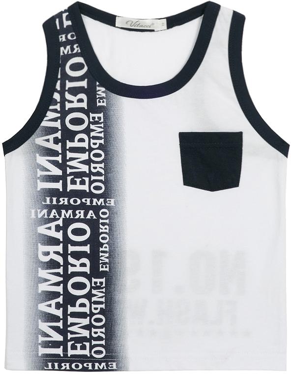 Майка для мальчика Vitacci, цвет: белый. 1172023-01. Размер 1101172023-01Майка для мальчика, декорирована карманом и надписями. Хорошо подходит к шортам.