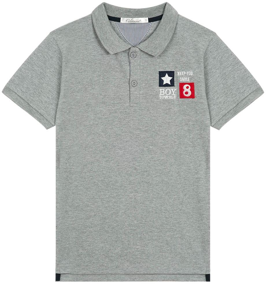 Поло для мальчика Vitacci, цвет: серый. 1172028-02. Размер 1401172028-02Поло для мальчика с отложным воротником и короткими рукавами.