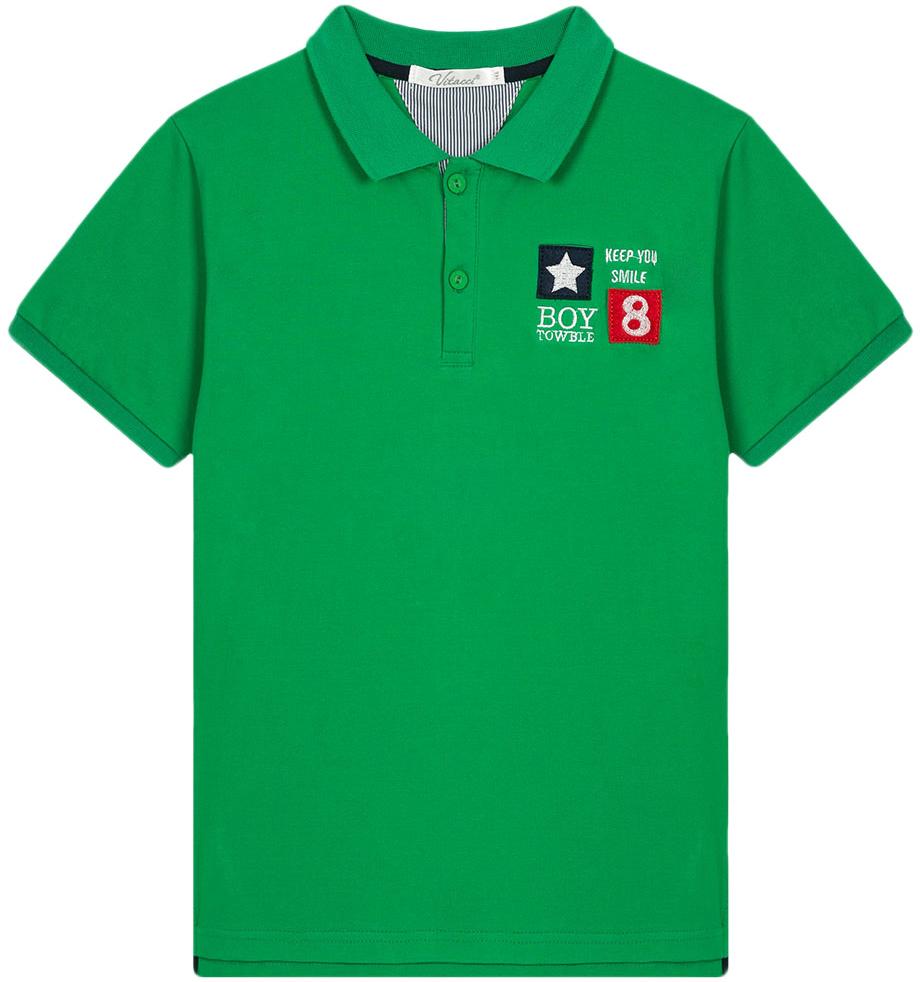Поло для мальчика Vitacci, цвет: зеленый. 1172028-06. Размер 1581172028-06Поло для мальчика с отложным воротником и короткими рукавами.