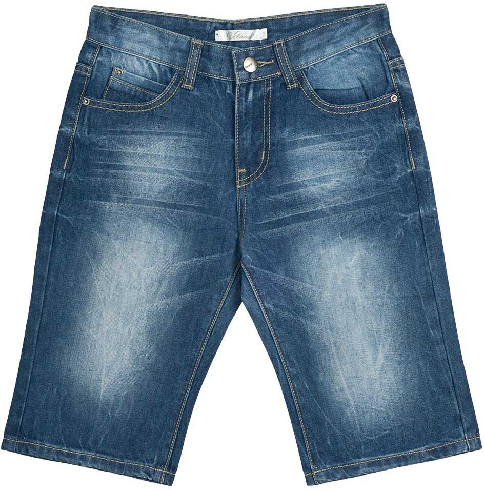 Шорты для мальчика Vitacci, цвет: синий. 1172038-04. Размер 1641172038-04Всегда актуальные джинсовые шорты для мальчика, классическая длина и трикотажная резинка на талии делают модель модной и удобной.