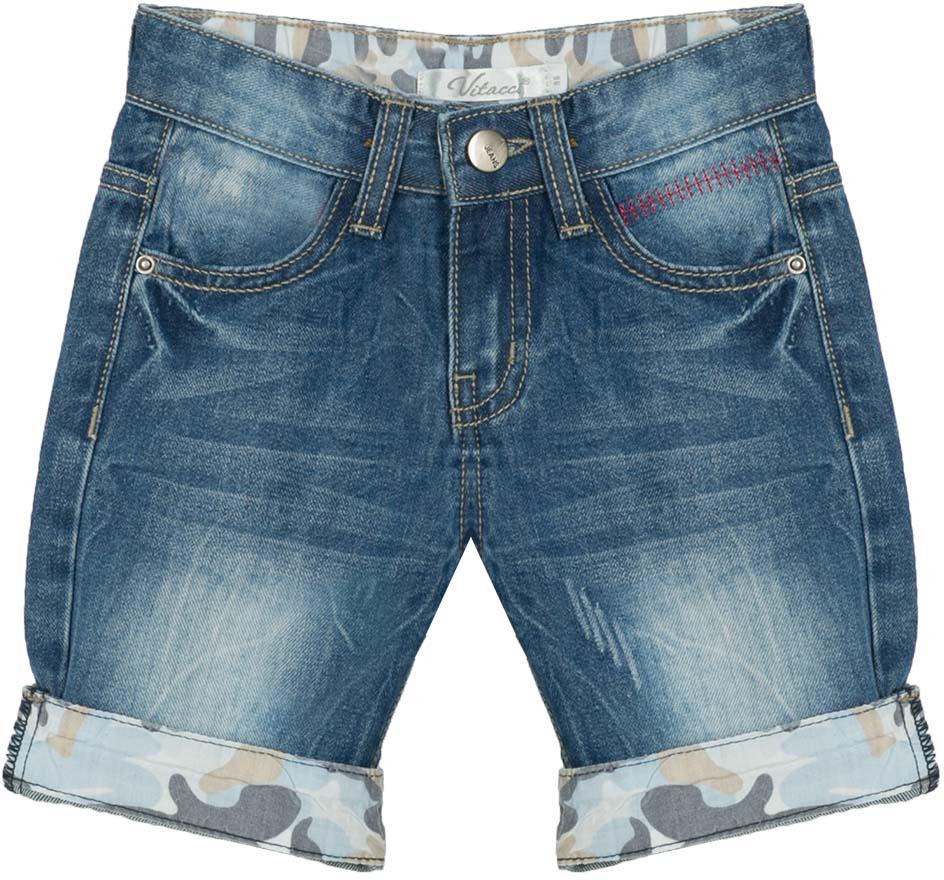 Шорты для мальчика Vitacci, цвет: синий. 1172053-04. Размер 1101172053-04Всегда актуальные джинсовые шорты для мальчика, классическая длина и оригинальные отвороты контрастного цвета делают модель модной и удобной.