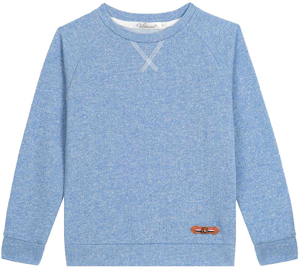 Свишот для мальчика Vitacci, цвет: голубой. 1172079-10. Размер 1221172079-10Свитшот для мальчика выполнен из хлопка и полиэстера. Модель с круглым вырезом горловины и длинными рукавами.