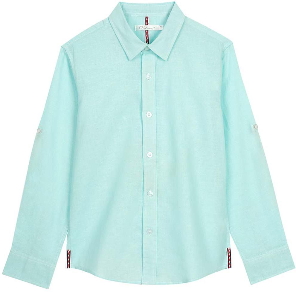 Рубашка для мальчика Vitacci, цвет: зеленый. 1172101-32. Размер 1401172101-32Оригинальная рубашка для мальчика из высококачественного льна. Возможность корректировать длину рукава позволяет носить данную модель как в жаркий летний день, так и прохладным вечером.