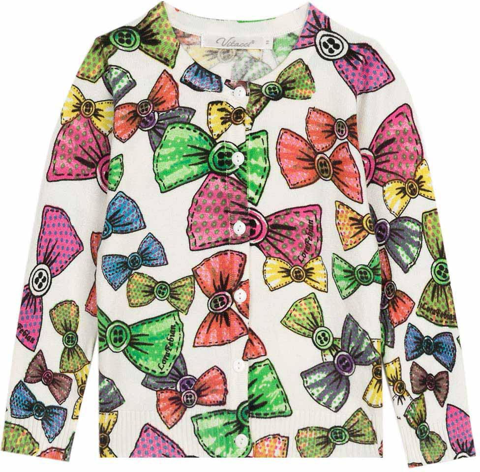 Кофта для девочки Vitacci, цвет: белый, мультиколор. 2172019-01. Размер 1282172019-01Оригинальная кофта для девочки с необычным принтом в сочетании с джинсами подойдет для прохладного летнего дня.