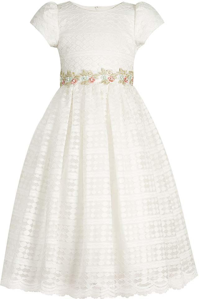 Платье для девочки Vitacci, цвет: белый. 2172042-01. Размер 1302172042-01Нарядное платье королевского белого цвета - идеальный выбор для любого торжества, на котором маленькая принцесса будет блистать.