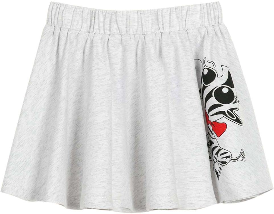Юбка для девочки Vitacci, цвет: серый. 2172110-02. Размер 1282172110-02Замечательная трикотажная юбочка на широкой резинке с оригинальным принтом- выбор модницы в летний день.