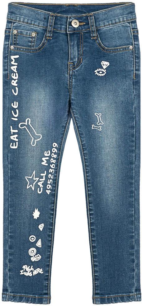 Джинсы для девочки Vitacci, цвет: синий. 2172178-04. Размер 1102172178-04Стильные узкие джинсы для маленькой модницы, оформленные контрастными принтами.