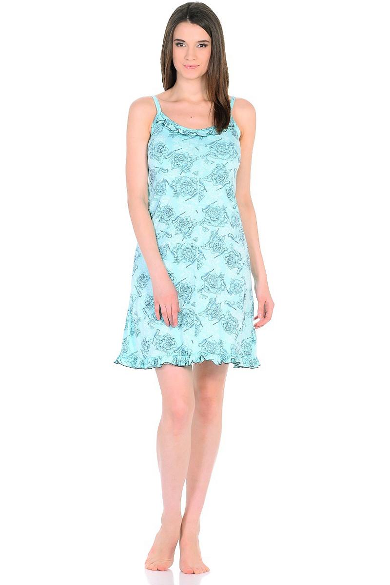 Ночная рубашка женская HomeLike, цвет: бирюзовый. 235/1. Размер 52235/1Легкая ночная сорочка HomeLike на тонких бретелях, трапециевидного покроя, изготовлена из кулирки в нежной освежающей расцветке, оформлена по линии груди и низу изделия оборкой с окантовочным швом. Безусловным достоинством модели является мягкое полотно из чистого хлопка - залог крепкого и спокойного сна!
