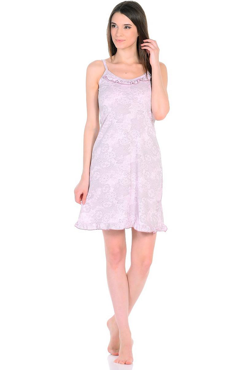 Ночная рубашка женская HomeLike, цвет: розовый, серый. 235/2. Размер 52235/2Легкая ночная сорочка HomeLike на тонких бретелях, трапециевидного покроя, изготовлена из кулирки в нежной освежающей расцветке, оформлена по линии груди и низу изделия оборкой с окантовочным швом. Безусловным достоинством модели является мягкое полотно из чистого хлопка - залог крепкого и спокойного сна!