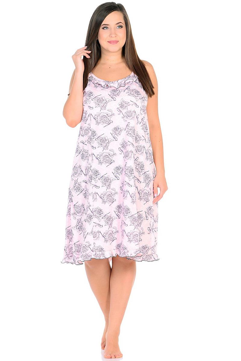 Ночная рубашка женская HomeLike, цвет: розовый, серый. 236/2. Размер 62236/2Комфортная ночная сорочка HomeLike на тонких бретелях, трапециевидного, покроя с рельефами, изготовлена из кулирки в нежной освежающей расцветке, оформлена по линии груди и низу изделия оборками с окантовочным швом. Безусловным достоинством модели является мягкое полотно из чистого хлопка - залог крепкого и спокойного сна!