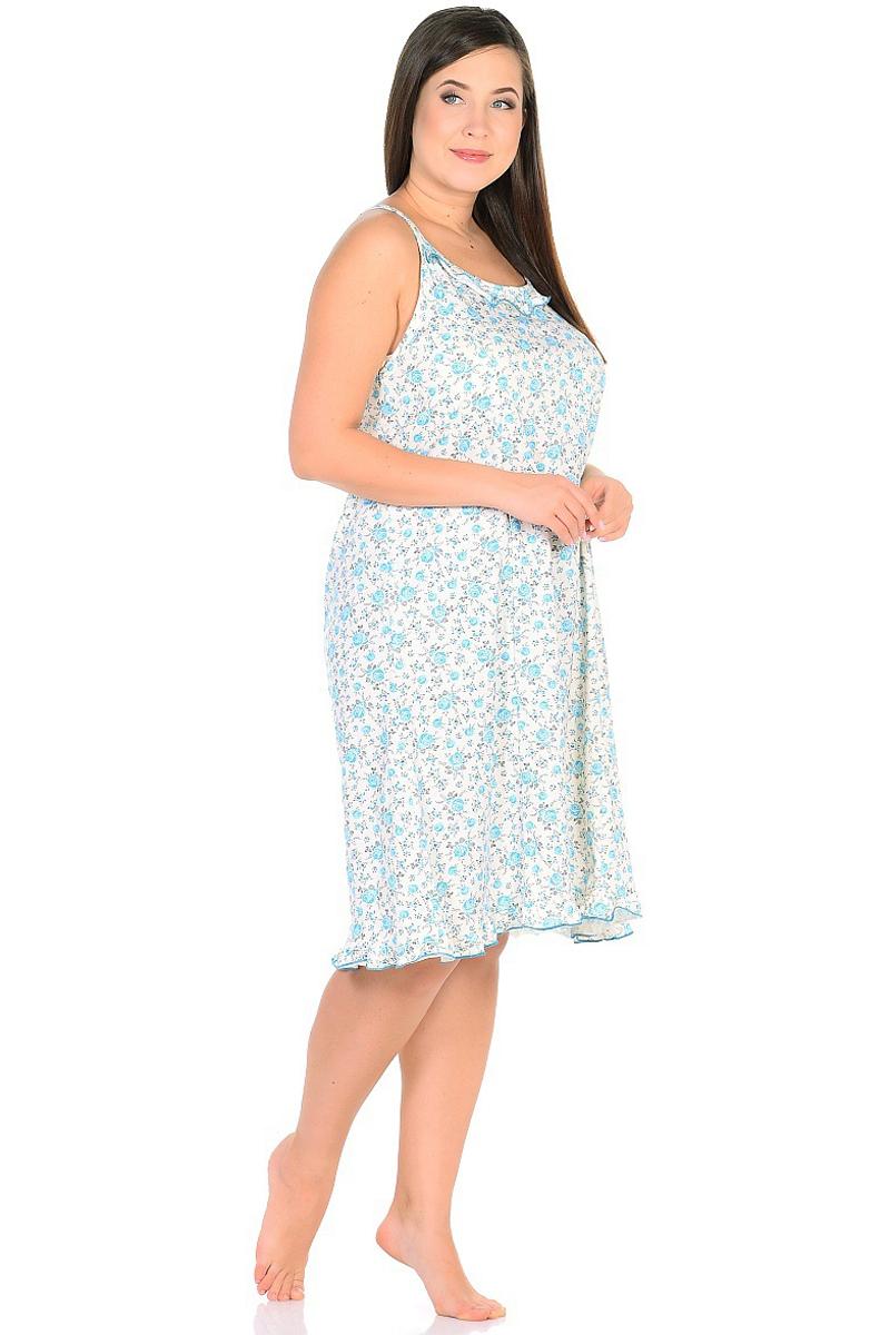 Ночная рубашка женская HomeLike, цвет: молочный, голубой. 236/3. Размер 58236/3Комфортная ночная сорочка HomeLike на тонких бретелях, трапециевидного, покроя с рельефами, изготовлена из кулирки в нежной освежающей расцветке, оформлена по линии груди и низу изделия оборками с окантовочным швом. Безусловным достоинством модели является мягкое полотно из чистого хлопка - залог крепкого и спокойного сна!