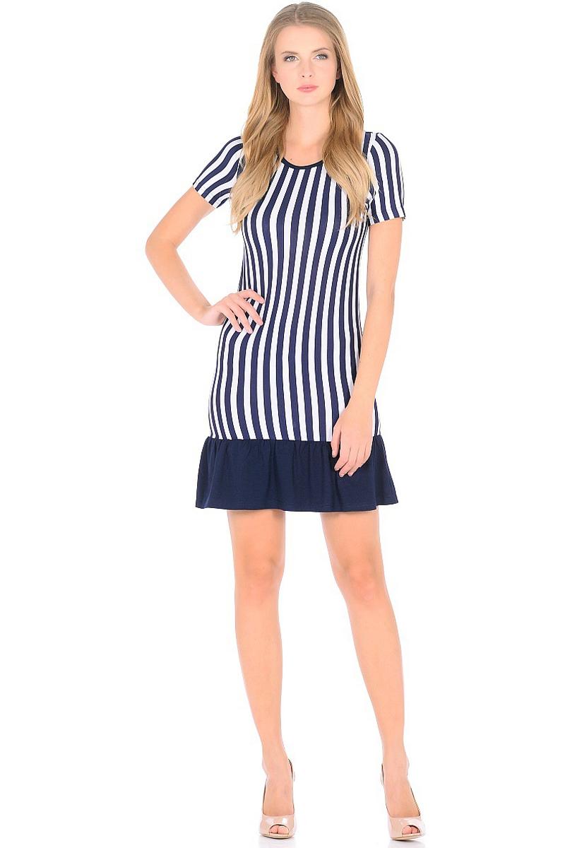 Платье HomeLike, цвет: синий, белый. 707. Размер 48707Мини-платье HomeLike приталенного силуэта выполнено из вискозного полотна в полоску с однотонной оборкой по низу. Морская тематика ни когда не выходит из модных тенденций, вертикальный принт в полоску визуально корректирует силуэт, делая фигуру стройнее. Ткань платья струящаяся, немного эластичная, хорошо пропускает воздух, создает охлаждающий эффект для тела.
