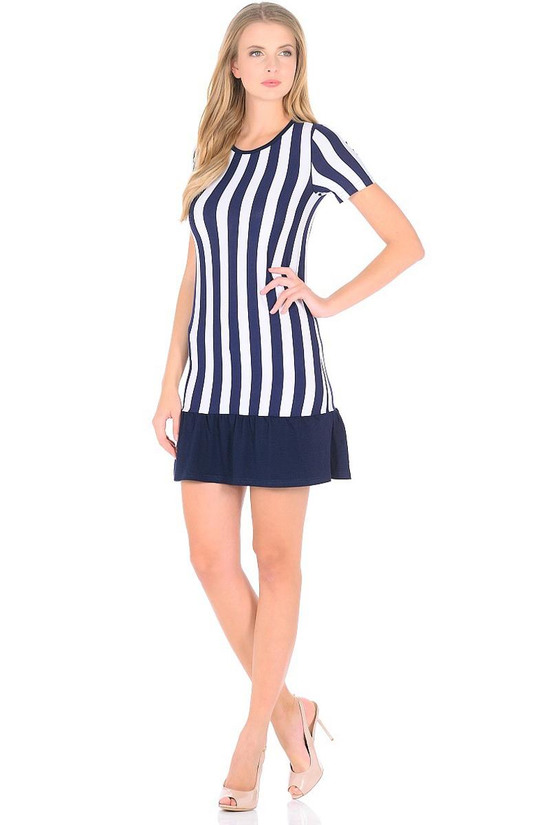 Платье HomeLike, цвет: синий, белый. 708. Размер 42708Мини-платье HomeLike приталенного силуэта выполнено из вискозного полотна в полоску с однотонной оборкой по низу. Морская тематика ни когда не выходит из модных тенденций, вертикальный принт в полоску визуально корректирует силуэт, делая фигуру стройнее. Ткань платья струящаяся, немного эластичная, хорошо пропускает воздух, создает охлаждающий эффект для тела.
