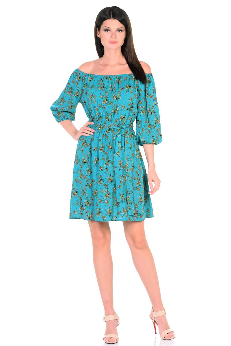 Платье HomeLike, цвет: бирюзовый, коричневый. 815. Размер 48815Восхитительное платье HomeLike из струящегося невесомого материала в изысканной расцветке. Модель с расклешенной юбкой. Глубокий вырез горловины, основания рукавов 3/4 и линия талии присобраны на мягкие резиночки, придавая эффект легкой воздушности. При желании можно обнажить плечи. Пояс придает свою изюминку, делая образ более совершенным. Это прекрасное платье дарит ощущения легкости и комфорта в процессе носки, модель безупречно садится на фигуру любого типа, скрывает возможные несовершенства, подчеркивает красоту и женственность.