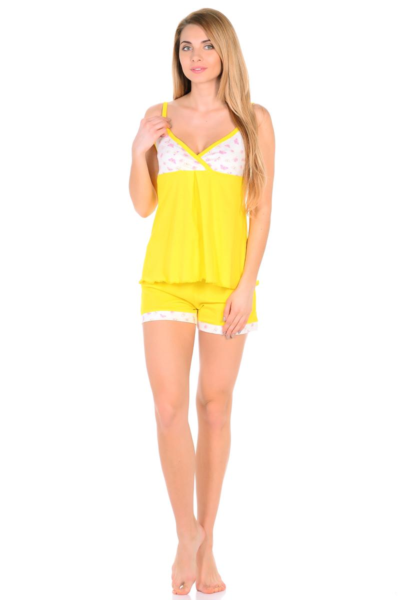 Домашний комплект женский HomeLike: топ, шорты, цвет: желтый. 828. Размер 46828Комплект домашней одежды HomeLike, состоящий из топа и шорт, выполнен из трикотажа в яркой привлекательной расцветке. Топ на тонких бретелях, с принтованной кокеткой на запах, свободного покроя с легкими складочками от нее. Линия низа обработана волнообразным окантовочным швом. Шорты с мягкой резинкой в поясе, низ дополнен контрастной планкой в тон кокетки. Комплект красиво смотрится, идеально сидит, дарит легкость, свободу движениям и оптимальный комфорт в процессе носки.