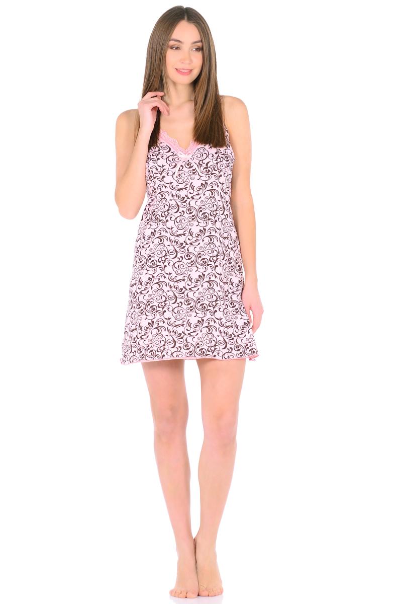 Ночная рубашка женская HomeLike, цвет: персиковый, коричневый. 829. Размер 54829Трикотажная ночная сорочка HomeLike в красивой расцветке. Изящная модель трапециевидного покроя, на бретелях, вырез декольте обрамлен нежным кружевом с декором атласной ленточкой. Линия низа обработана окантовочным швом. Мягкий хлопковый трикотаж приятен для тела, удобный крой не сковывает движений, в такой сорочке обеспечен спокойный и полноценный отдых и сон.