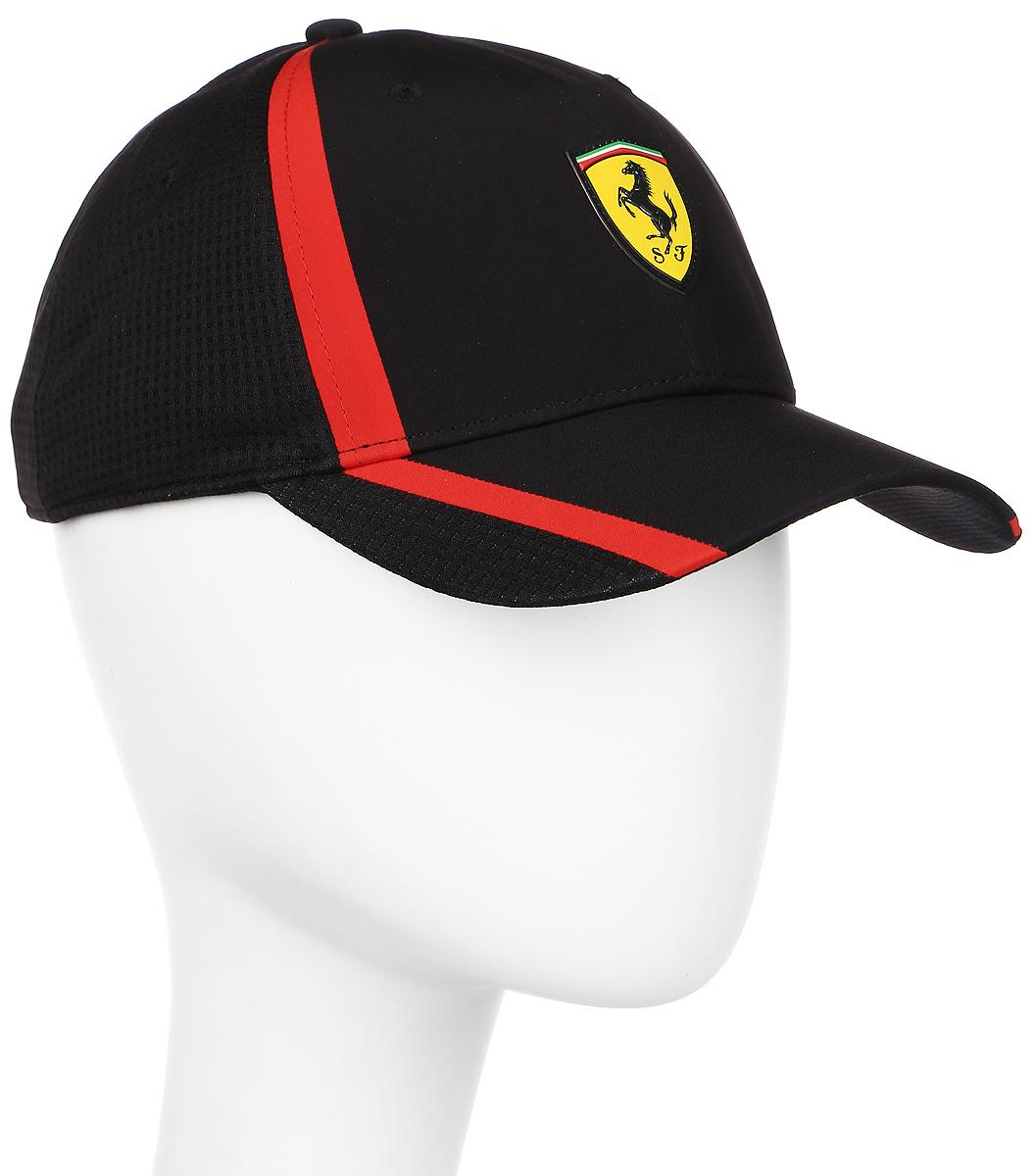 Бейсболка Puma Ferrari Fanwear redline cap, цвет: черный. 021202_02. Размер универсальный021202_02Бейсболка Ferrari Fanwear redline cap с двухслойным изогнутым козырьком отлично защитит от солнца и обеспечит максимальный комфорт благодаря микрофибре, способной пропускать воздух. Отрегулировать размер изделия можно с помощью тканевого ремешка на задней части изделия. Вентиляция обеспечивается специальными вышитыми люверсами на всей поверхности бейсболки и сетчатыми боковыми вставками. Влаговпитывающая тесьма с сетчатой вставкой обеспечивает больший комфорт. На внутренней части козырька также имеется сетчатая вставка. Бейсболка декорирована гербом Ferrari спереди и логотипом Puma сзади.