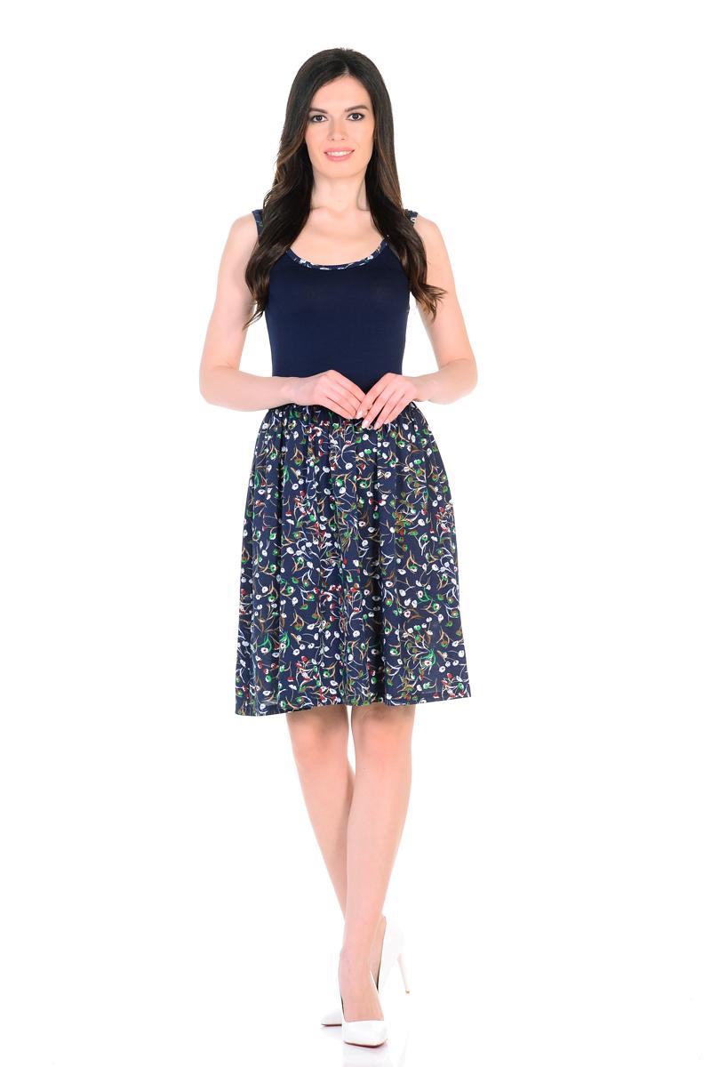 Платье HomeLike, цвет: темно-синий, зеленый. 852. Размер 40852Мини-платье HomeLike комбинированное, с приталенным верхом и с расклешенной юбкой. Модель без рукавов, с округлым вырезом по горловине, отрезная линия талии дополнена мягкой резиночкой для наилучшей посадки по фигуре. Симпатичный рисунок на юбке платья, и такая же окантовка по горловине украшают лаконичный фасон. Мягкие ткани приятны для тела, удобный крой не сковывает движений, создает ощущения легкости и комфорта.
