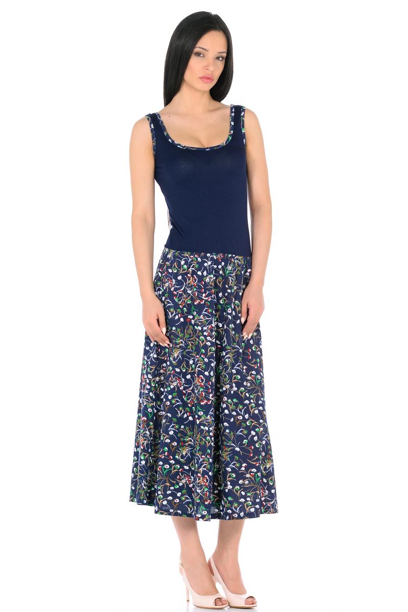 Платье HomeLike, цвет: темно-синий, зеленый. 853. Размер 42853Платье HomeLike с приталенным верхом и с расклешенной юбкой миди из хлопкового полотна. Модель без рукавов, с округлым вырезом по горловине, отрезная линия талии дополнена мягкой резиночкой для наилучшей посадки по фигуре. Симпатичный рисунок на юбке платья, очень украшают лаконичный фасон. Мягкие ткани приятны для тела, удобный крой не сковывает движений, создает ощущения легкости и комфорта.