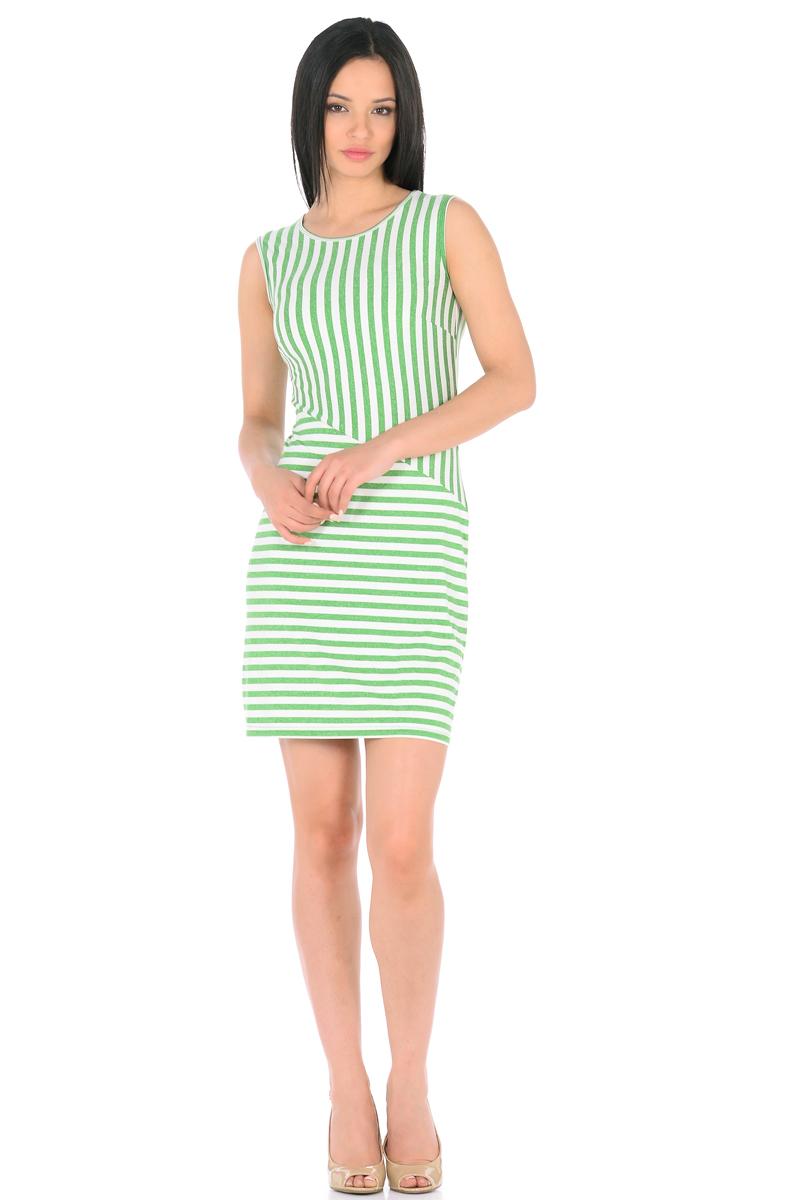 Платье HomeLike, цвет: молочный, зеленый. 855. Размер 44855Трикотажное платье-мини HomeLike в полоску, полуприталенного силуэта, без рукавов, с округлым вырезом горловины. Ассиметричное соединение верха и низа, образует геометрический рисунок, который визуально корректирует силуэт. Благодаря приятной ткани с высоким содержанием вискозы и правильному крою с вытачками, платье отлично садится по фигуре, обеспечивая комфорт, легкость и свободу движениям.