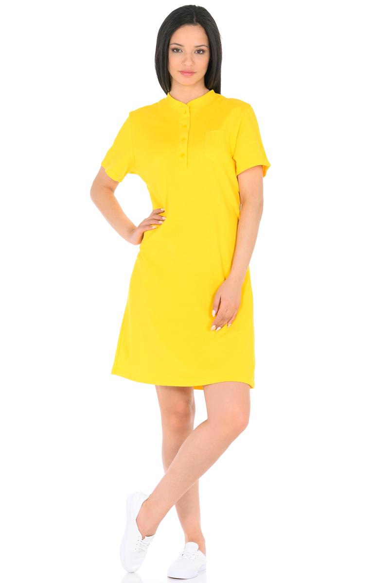Платье HomeLike, цвет: желтый. 876. Размер 46876Стильное платье HomeLike выполнено из хлопкового-пике. Модель прямого покроя, с короткими рукавами, со шлицей в среднем шве спинки. Воротник стойка с короткой планкой на пуговицах и небольшой накладной карман на полочке придают платью спортивный оттенок. Такое платье стильно смотрится, особенно в сочетании с предметами гардероба в спортивном стиле. Пике материал приятный к телу, практичный и износостойкий, крой удобный, не сковывает движений, обеспечивает комфорт.