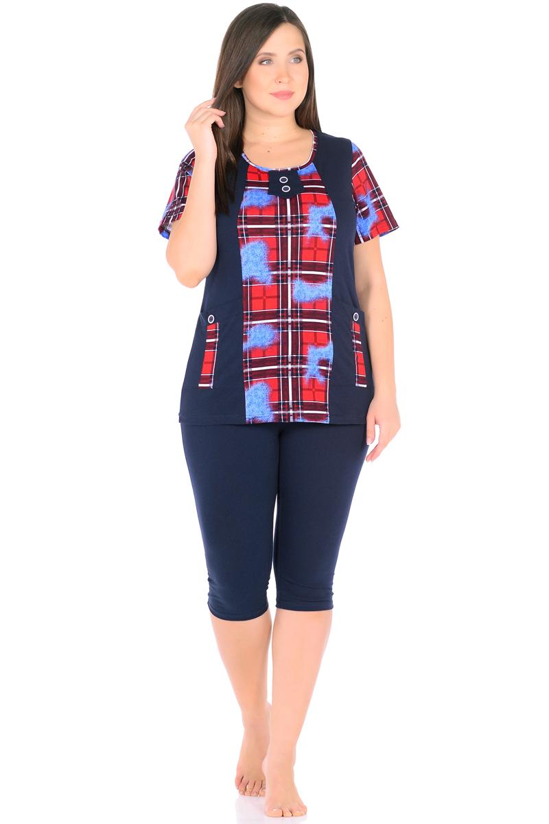 Домашний комплект женский HomeLike: футболка, бриджи, цвет: темно-синий, красный, голубой. 878. Размер 48878Комплект домашней одежды HomeLike, состоящий из футболки и бридж, выполнен из трикотажного полотна. Футболка прямого покроя в комбинированной расцветке, с короткими рукавами, с округлым вырезом горловины, в рельефах практичные накладные карманы с декором пуговицами, вырез оформлен декоративной планкой с двумя пуговицами. Бриджи прямого покроя, ниже колена, с поясом на резинке. Сочетая комфортные характеристики в носке и современный дизайн, данный комплект удобен в качестве одежды для дома и дачи, а так же подойдет и для летних прогулок или отдыха на природе.