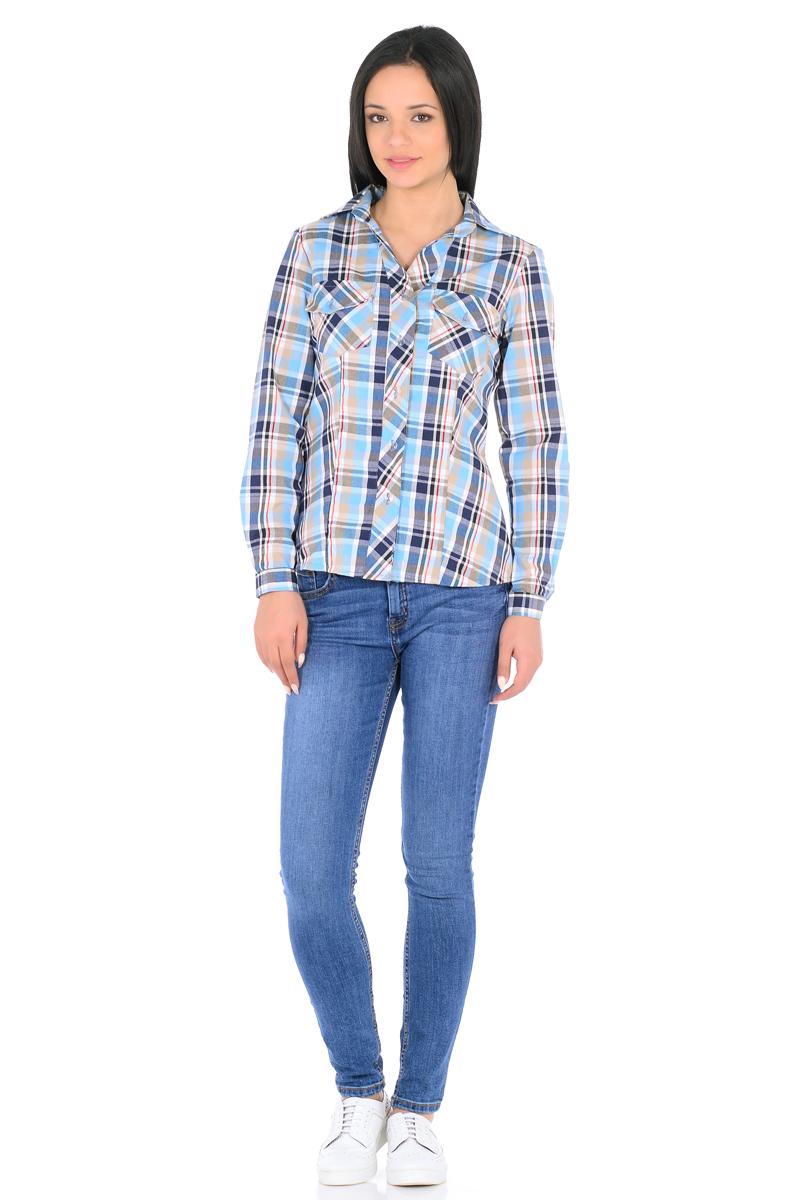 Рубашка женская HomeLike, цвет: голубой, бежевый. 882. Размер 52882Стильная рубашка в клетку HomeLike приталенная, с длинными рукавами, с отложным воротником. Передняя планка застегивается на пуговицы. На полочках накладные карманы. Рукава дополнены патами с пуговицами, благодаря этому их можно подвернуть и зафиксировать. Спинка с высокой кокеткой. Хлопковый текстиль, безупречный пошив, правильный крой с рельефами обеспечивают отличную посадку по фигуре и комфорт в процессе носки.