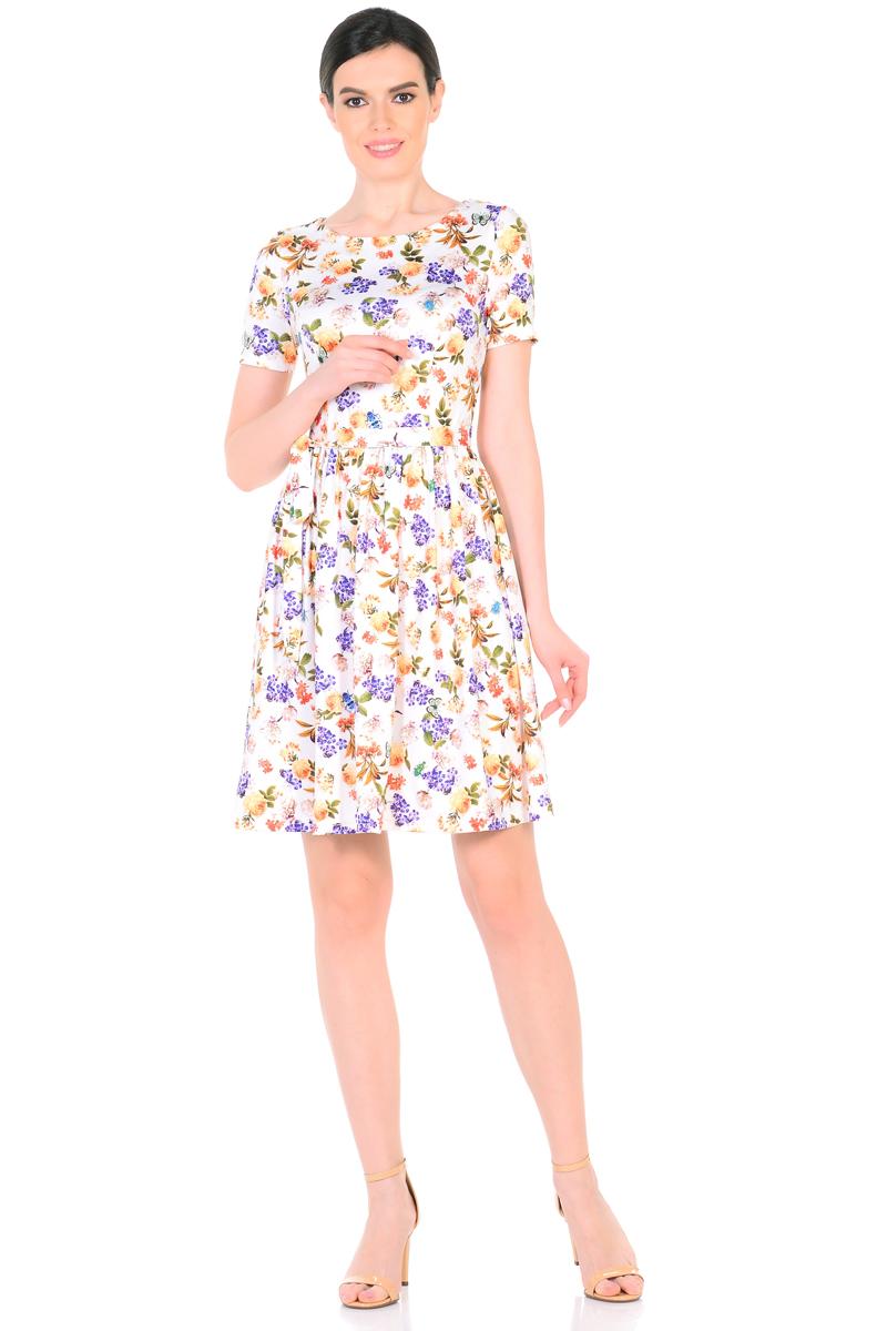Платье HomeLike, цвет: молочный, коралловый, сиреневый. 885. Размер 52885Женственное весенне-летнее платье HomeLike выполнено из струящегося материала масло в изысканной расцветке. Модель с приталенным верхом с рельефами и с расклешенной юбкой. Рукава короткие. Вырез горловины округлый. Лини талии дополнена мягкой формирующей резиночкой. Пояс завязка придает изюминку. Платье безупречно садится по фигуре, подчеркивает достоинства. Ткань приятная к телу, струится, плавно повторяя формы и изгибы тела. Красивая расцветка освежает, привлекает внимание, придавая образу еще больше очарования.