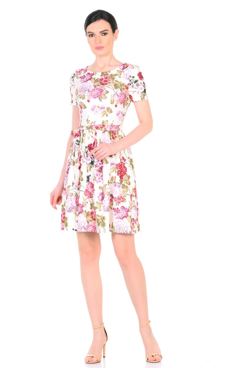 Платье HomeLike, цвет: молочный, зеленый, розовый. 885. Размер 50885Женственное весенне-летнее платье HomeLike выполнено из струящегося материала масло в изысканной расцветке. Модель с приталенным верхом с рельефами и с расклешенной юбкой. Рукава короткие. Вырез горловины округлый. Лини талии дополнена мягкой формирующей резиночкой. Пояс завязка придает изюминку. Платье безупречно садится по фигуре, подчеркивает достоинства. Ткань приятная к телу, струится, плавно повторяя формы и изгибы тела. Красивая расцветка освежает, привлекает внимание, придавая образу еще больше очарования.