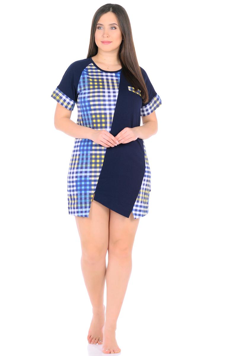 Платье домашнее HomeLike, цвет: темно-синий, голубой, желтый. 893. Размер 50893Оригинальное платье HomeLike для домашнего гардероба. Прямой удобный покрой в комбинированной расцветке, с ассиметричными вставками и фигурным низом хорошо садится по фигуре, визуально корректирует силуэт, обеспечивает свободу движениям. Короткие рукава реглан дополнены контрастными манжетами с разрезами. Округлый вырез горловины подчеркнут контрастной окантовкой. На одной из полочек имитация кармана с декором пуговицей. Такое платье украсит ваш домашний образ своим оригинальным дизайном, и порадует комфортными характеристиками в носке.