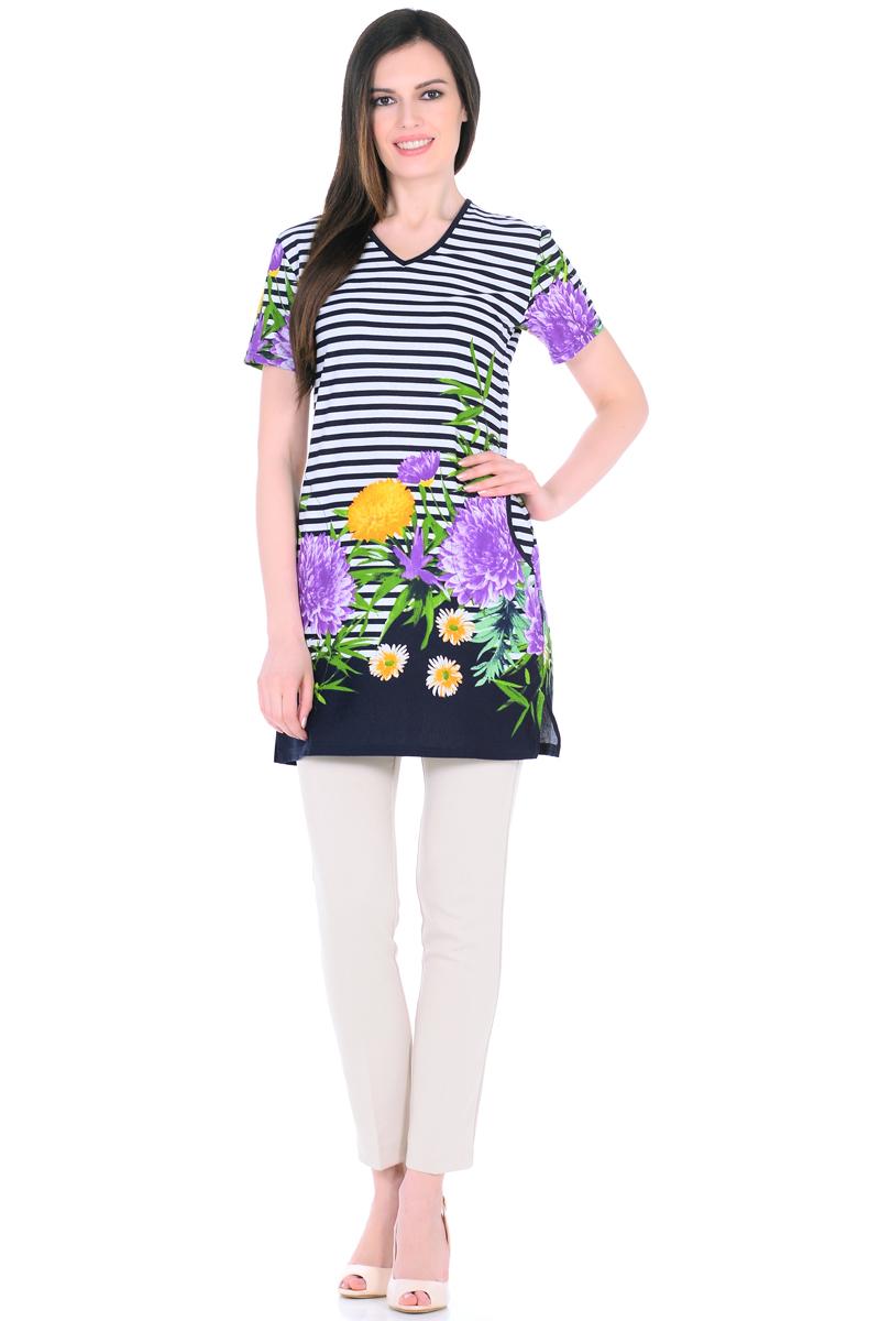 Платье домашнее HomeLike, цвет: белый, зеленый, сиреневый. 894. Размер 60894Домашнее платье HomeLike прямого силуэта, с короткими рукавами, с Vобразным вырезом горловины, по бокам практичные карманы, в боковых швах разрезы. Современная расцветка с яркими принтами украшает удобную вещь без лишних деталей. Хлопковый трикотаж приятен к телу, создает ощущения легкости и комфорта в процессе носки.