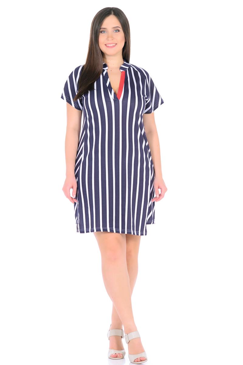 Платье HomeLike, цвет: темно-синий, белый, красный. 896. Размер 48896Стильное платье HomeLike в полоску, прямого покроя, с короткими рукавами реглан. Выполнено из хлопкового трикотажа. Фигурный низ платья смотрится необычно, оригинально. Модный воротник стойка с V-образным вырезом обработаны контрастными планками. Платье отлично садится по фигуре любого типа, скрывает несовершенства, вертикальная полоска визуально вытягивает силуэт, делая фигуру стройнее.