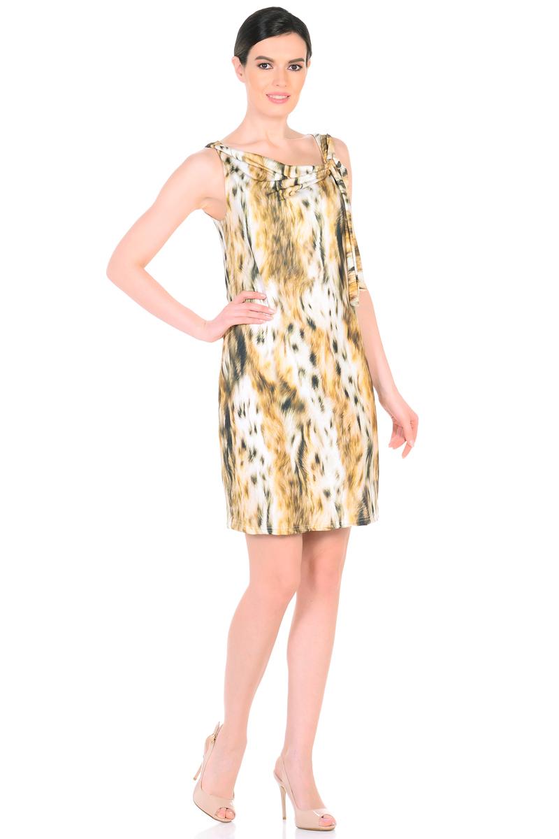 Платье HomeLike, цвет: светло-бежевый, серо-зеленый. 901. Размер 50901Женственное платье HomeLike из приятного к телу материала масло. Модель полуприталенного покроя, без рукавов. Элегантный вырез водопад изысканно украшает, тонкий шарф завязка придает изюминку. Красивый рисунок на ткани привлекает внимание. Платье безупречно садится по фигуре, плавно обрисовывая женственный силуэт, подчеркивает достоинства.