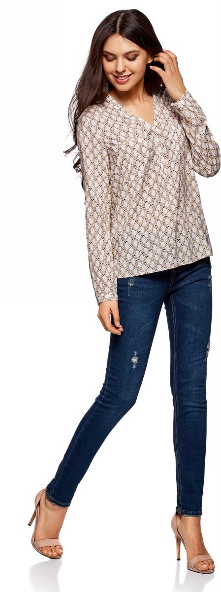 Блузка женская oodji Ultra, цвет: белый, бежевый. 11411049-1/24681/1233K. Размер 42-170 (48-170)11411049-1/24681/1233KБлузка принтованная из вискозы