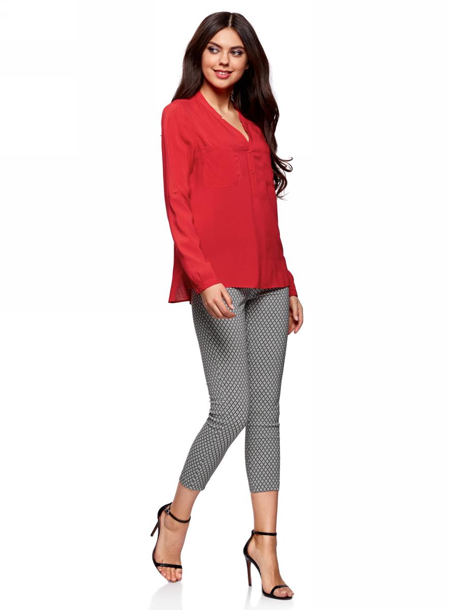 Блузка женская oodji Ultra, цвет: красный. 11411049-1/24681/4500N. Размер 36-170 (42-170)11411049-1/24681/4500NБлузка принтованная из вискозы