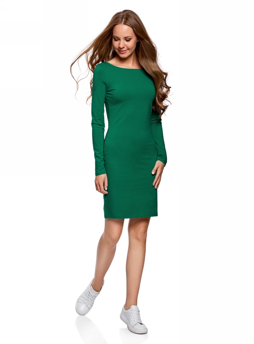 Платье oodji Ultra, цвет: изумрудный. 14001183B/46148/6D00N. Размер M (46)14001183B/46148/6D00NОблегающее платье oodji Ultra выполнено из качественного трикотажа. Модель мини-длины с круглым вырезом горловиныи длинными рукавамивыгодно подчеркивает достоинства фигуры.