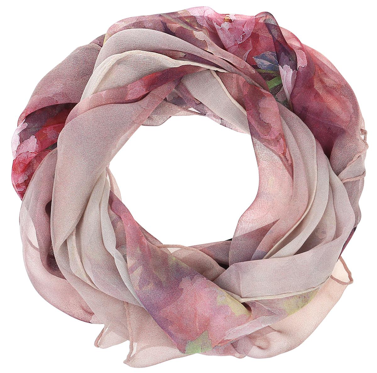 Шарф женский Vitta pelle, цвет: бежевый, розовый. Ro04SL215/833. Размер 45 см х 170 смRo04SL215/833Шарф из тонкого шифона с принтом. Обработка кромки - ручная подгибка.