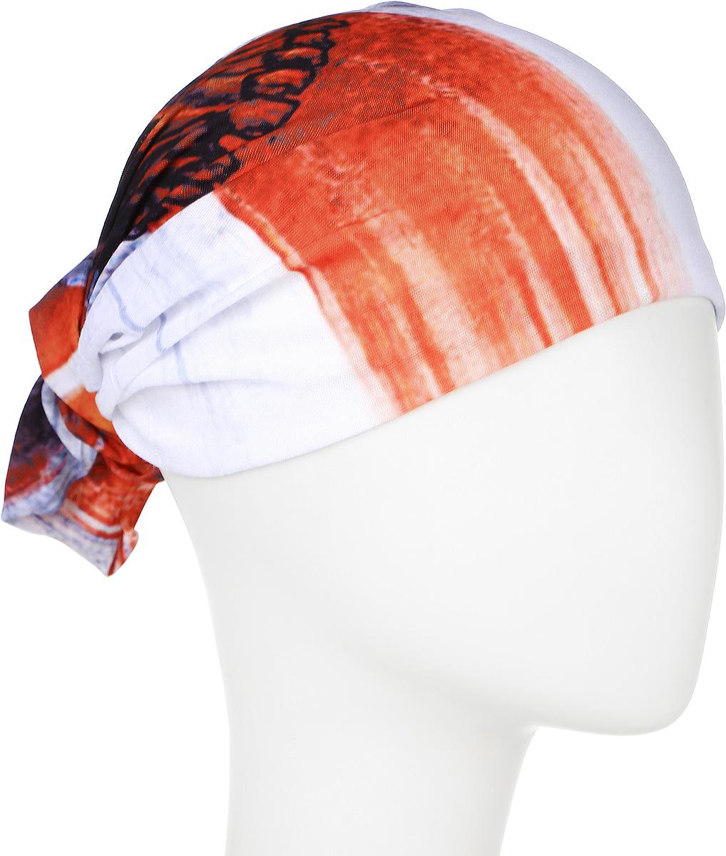 Шарф YusliQ, цвет: белый, оранжевый. 17-52.1. Размер 46 см х 24 см17-52.1Мультишарфы YusliQ можно встретить под разными названиями: мультишарф, мультибандана, платок трансформер, Baff, но вне зависимости от того как Вы назовете этот аксессуар, его уникальные возможности останутся неизменными. Вы с легкостью и удобством можете одеть этот мультишарф на голову и шею 12 различными способами. В сильные морозы, пронизывающий ветер или пыльную бурю - с мультишарфом Вы будете готовы к любым капризам природы