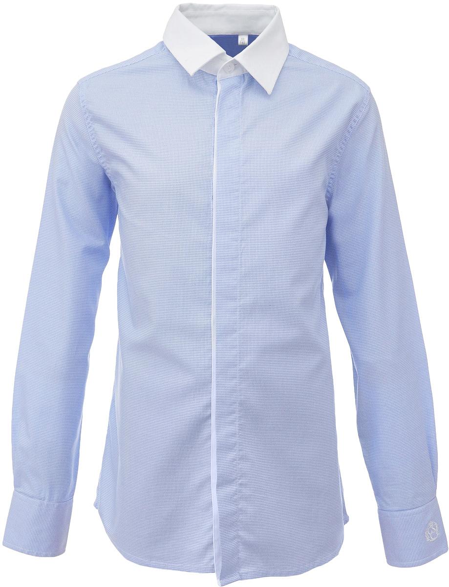 Рубашка для мальчика Gulliver, цвет: голубой. 217GSBC2312. Размер 170217GSBC2312Купить рубашки для мальчиков - в преддверии учебного сезона, это самая распространенная задача родителей школьников. Школьные рубашки должны быть строгими, элегантными, стильными. Они обязаны соответствовать принятому дресс-коду, но не лишать ученика индивидуальности. Именно такая рубашка от Gulliver позволит чувствовать себя уверенно и достойно. Хороший состав и качество ткани, модный силуэт, актуальная форма воротника делают рубашку от Gulliver отличным решением на каждый день. Деликатная отделка: контрастная внутренняя планка и белый воротник придают модели индивидуальные черты.